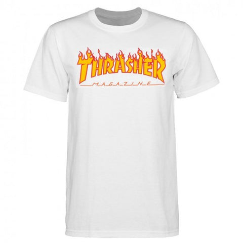 THRASHER FLAME T-SHIRT WHITE - Skateboards Amsterdam