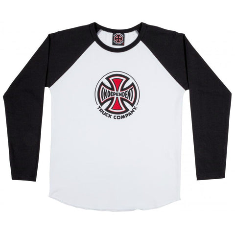 INDEPENDENT TRUCK CO. YOUTH BASEBALL LONG SLEEVE BLACK/WHITE