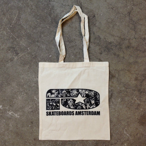 FLYER LOGO BLACK ON NATURAL COTTON TOTE - Skateboards Amsterdam