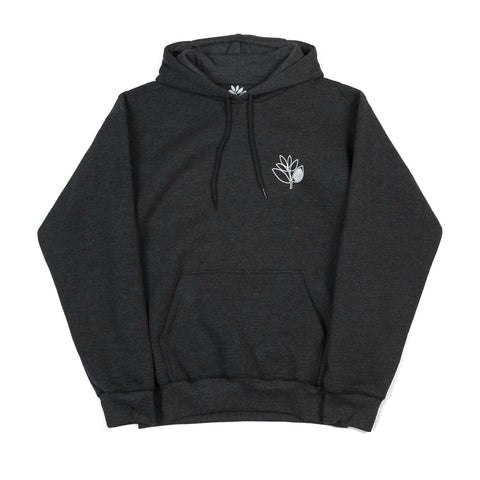 MAGENTA PLANT OUTLINE HOODED SWEATER DARK HEATHER GREY