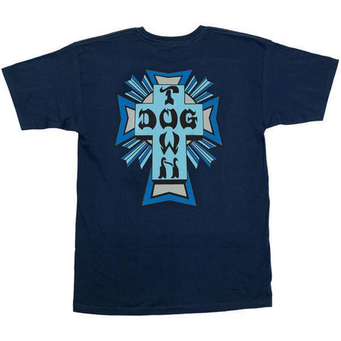 DOGTOWN CROSS COLOR LOGO T-SHIRT NAVY