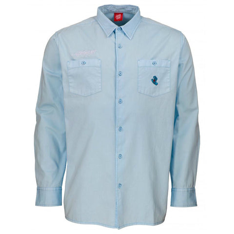 SANTA CRUZ SCREAMING MINI HAND LONG SLEEVE WORK SHIRT BLUE