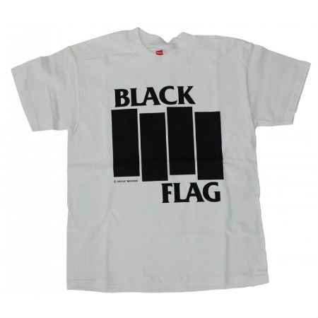 BLACK FLAG BARS & LOGO T-SHIRT WHITE - Skateboards Amsterdam
