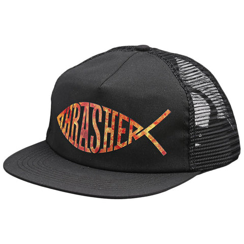 THRASHER FISH MESH SNAPBACK BLACK - Skateboards Amsterdam