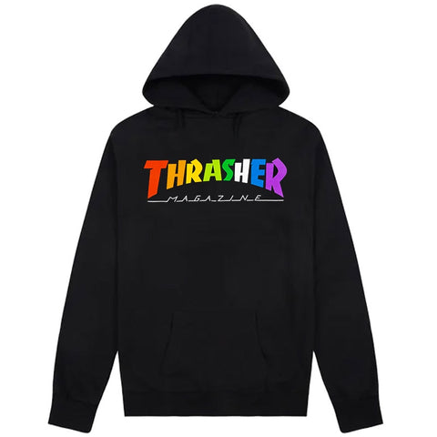 THRASHER RAINBOW MAG HOODED SWEATER BLACK