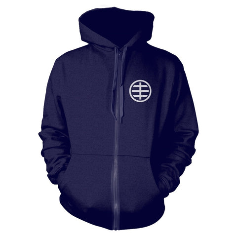 HUSKER DU CIRCLE LOGO HOODED ZIPPER NAVY