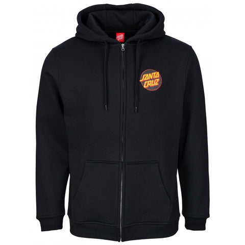 SANTA CRUZ DOT HOODED ZIPPER BLACK