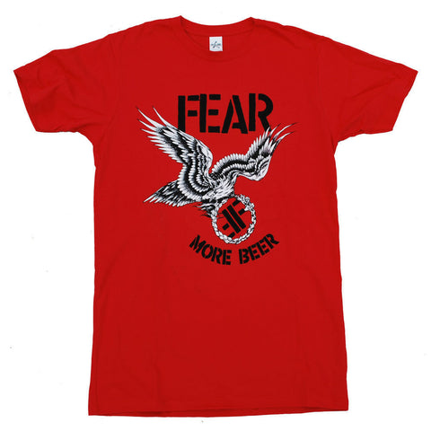 FEAR MORE BEER T-SHIRT RED - Skateboards Amsterdam