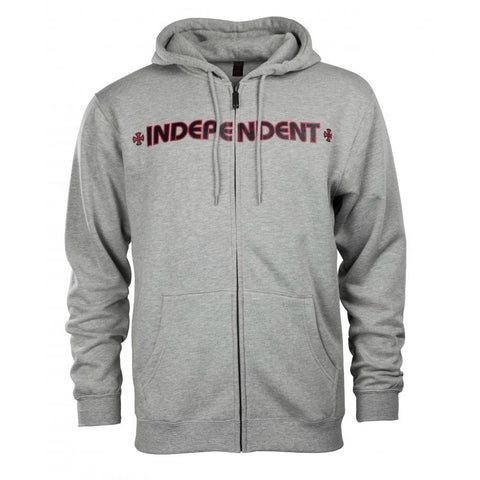 INDEPENDENT BAR CROSS HOODED ZIPPER DARK HEATHER
