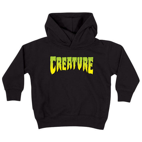 CREATURE LOGO HOODED SWEATER YOUTH BLACK - Skateboards Amsterdam