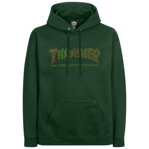THRASHER DAVIS HOODED SWEATER FOREST GREEN