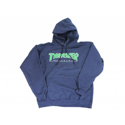 THRASHER OUTLINED HOODED SWEATER NAVY