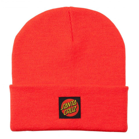 SANTA CRUZ BEANIE CLASSIC LABEL DOT HOT CORAL