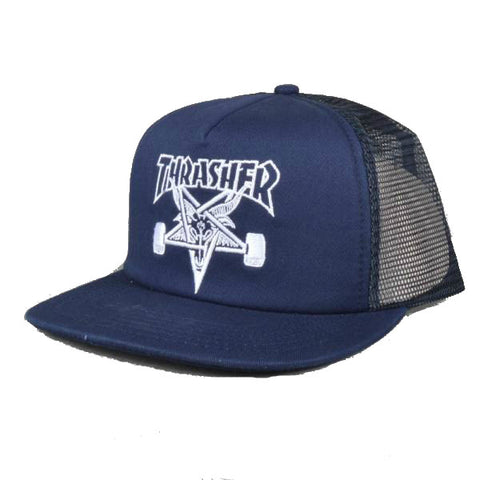 THRASHER SKATE GOAT EMBROIDERED MESH CAP NAVY - Skateboards Amsterdam