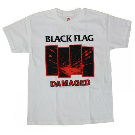 BLACK FLAG DAMAGED T-SHIRT WHITE - Skateboards Amsterdam