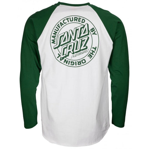 SANTA CRUZ MANUFACTURING DOT BASEBALL SHIRT FOREST /WHITE