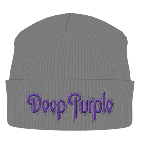 DEEP PURPLE GREY LOGO BEANIE - Skateboards Amsterdam