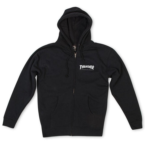 THRASHER LOGO SKATE MAG HOODED ZIPPER BLACK