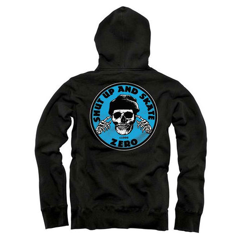 ZERO SHUT UP & SKATE HOODED SWEATER BLACK/BLUE