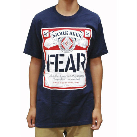 FEAR BEER LABEL T-SHIRT NAVY - Skateboards Amsterdam
