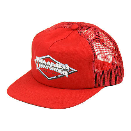 THRASHER DIAMOND EMBLEM TRUCKER HAT RED - Skateboards Amsterdam