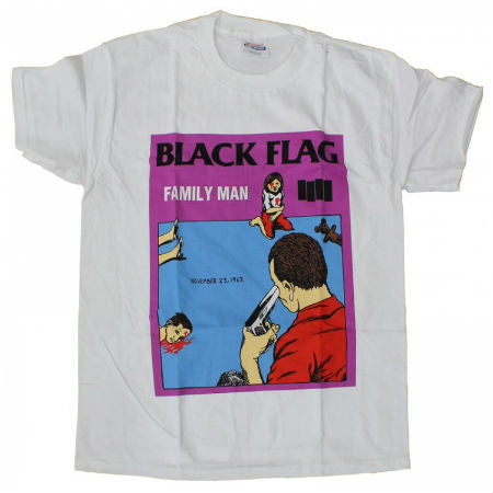BLACK FLAG FAMILY MAN T-SHIRT WHITE - Skateboards Amsterdam