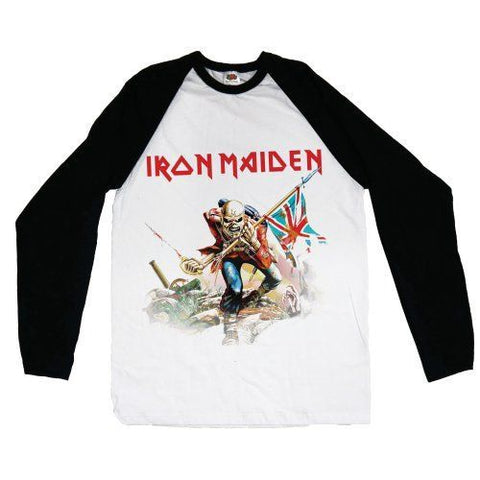 IRON MAIDEN TROOPER RAGLAN WHITE/BLACK