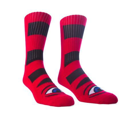 TOY MACHINE SECT EYE BIG STRIPE SOCK RED
