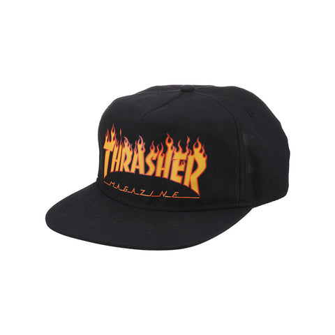 THRASHER FLAME SNAPBACK BLACK - Skateboards Amsterdam
