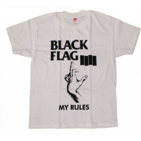BLACK FLAG MY RULES T-SHIRT WHITE - Skateboards Amsterdam