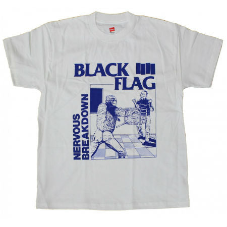 BLACK FLAG NERVOUS BREAKDOWN T-SHIRT WHITE - Skateboards Amsterdam