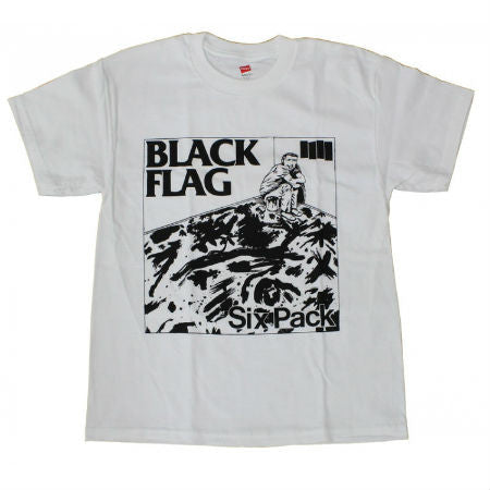 BLACK FLAG SIX PACK T-SHIRT WHITE - Skateboards Amsterdam