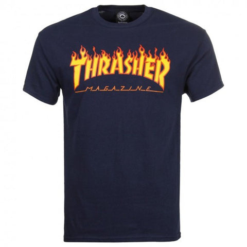 THRASHER FLAME T-SHIRT NAVY - Skateboards Amsterdam