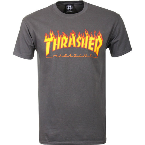 THRASHER FLAME T-SHIRT CHARCOAL - Skateboards Amsterdam