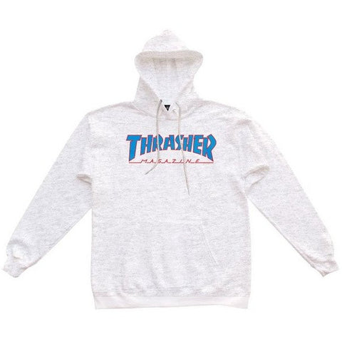 THRASHER OUTLINED HOODED SWEATER ASH GREY