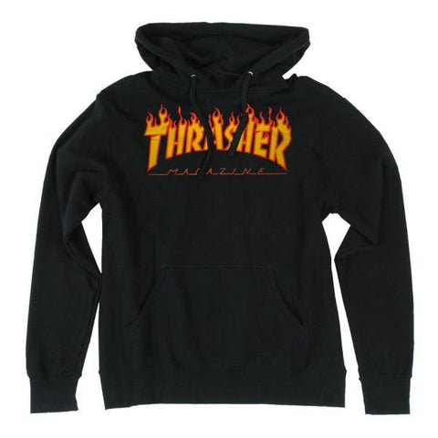 THRASHER FLAME HOODED SWEATER  BLACK - Skateboards Amsterdam