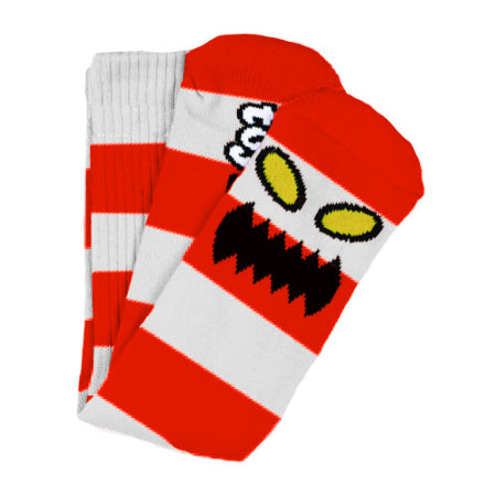 TOY MACHINE MONSTER BIG STRIPE SOCK RED