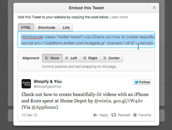 How to embed tweets in your Shopify blog – Shopify & You