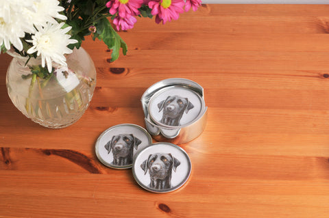 Black Labrador Coasters Set of 6 (Trade min 4 / Retail min 1)