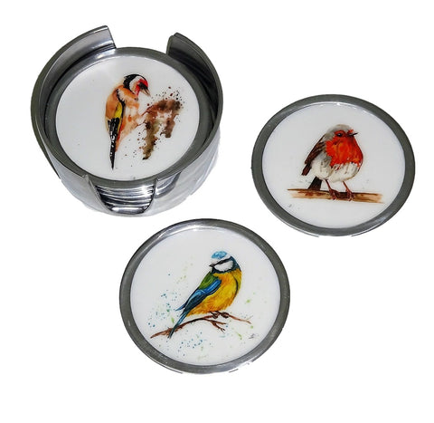 Garden Bird Coasters Set of 6 - 2 x Robin, 2 x Blue Tit, 2 x Woodpecker (min 2)