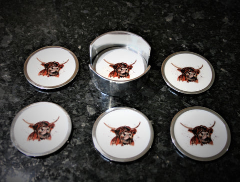 Highland Cow Coasters Set of 6 (min 4)