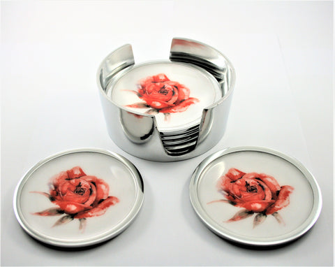 Red Rose Coaster Set of 6 (min 4) (New Product in Stock April 2019)