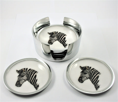 Zebra Coasters Set of 6 (min 4) (New Product in Stock March 2019)