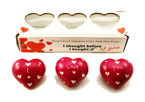Set of Three Boxed Pink Hearts - I Love You (min 2)