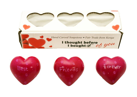 Set of Three Boxed Pink Hearts - Best Friends Forever (min 2)