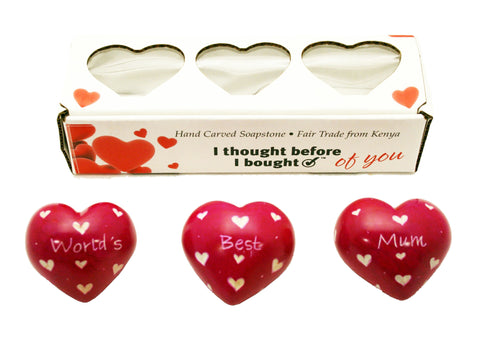 Set of Three Boxed Pink Hearts - World's Best Mum (min 2)