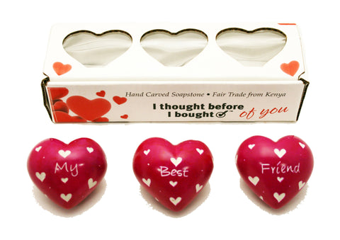 Set of Three Boxed Pink Hearts - My Best Friend (min 2)