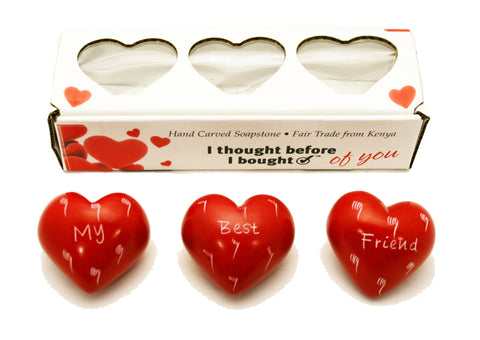 Set of Three Boxed Red Hearts - My Best Friend (min 2)
