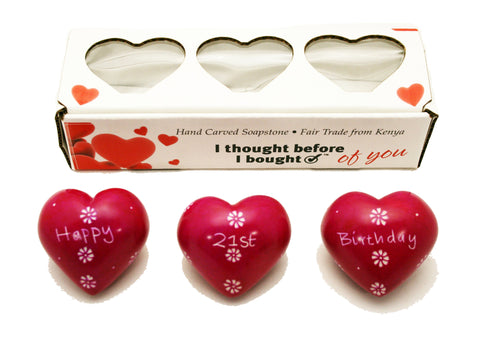 Set of Three Boxed Pink Hearts - Happy 21st Birthday (min 2)