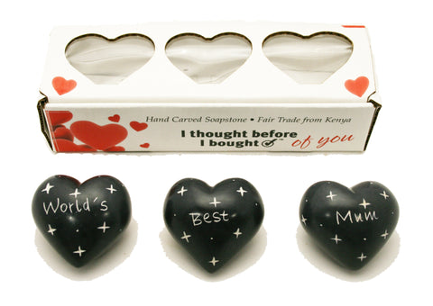 Set of Three Boxed Grey Hearts - World's Best Mum (trade min 2)